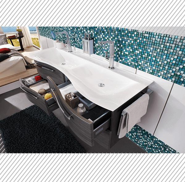 Hochwertige Badmöbel können Sie in unserer Badezimmerausstellung besichtigen uns sich inspirieren lassen.